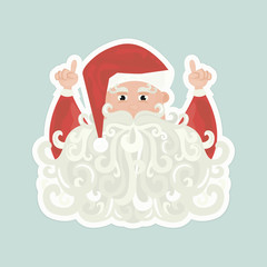 Santa Claus with curly beard pointing up isolated on blue background.