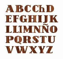 Spanish alphabet, capital letter, wood texture, imitation, vector. Vector font, on a white background. Brown letters, imitation wood texture.