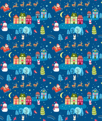 Christmas seamless pattern with Santa and festive town