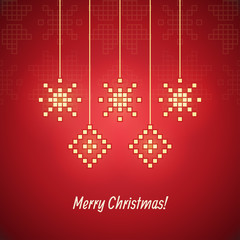 Pixel snowflake simple christmas greeting card. Can be used as i