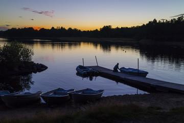 Sundown in Bolmen, South Sweden