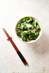 Stir fry broccoli with basmati rice in a bowl