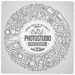 Set of Photo studio cartoon doodle objects round frame