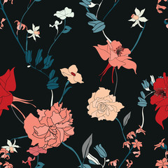 vintage flower seamless texture