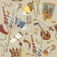 Medieval seamless pattern, castle, sword, crown