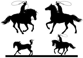 cowboy horsemen chasing a horse black vector silhouette set