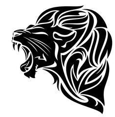 lion head black and white vector design