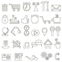 set of linear icons about the Internet