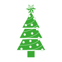 green christmas pine tree with decoration elements over white background. vector illustration