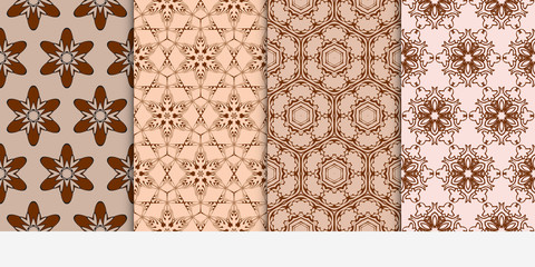 set of 4 floral seamless pattern. abstract geometry shape and lines. vector illustration. Ethnic ornament.