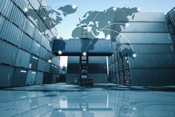 Global logistics network transportation, Map global logistics partnership connection of Container Cargo freight ship for Logistics