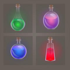 Magic potion glass bottles