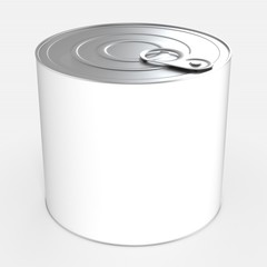 Tin can isolated. 3d rendering.