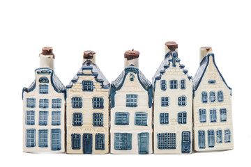 Five Delft blue houses