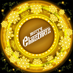 Yellow circle frame on tunnel background with golden snowflakes. Vector christmas backdrop