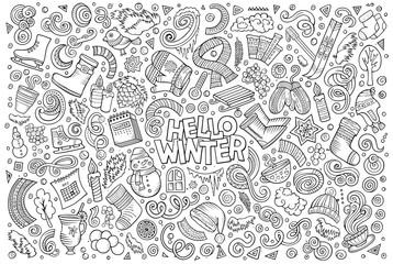 Cartoon set of Winter season objects