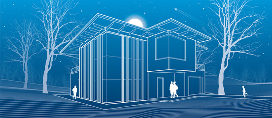 Modern house, people in the courtyard of his house. Architectural illustration, night scene, white lines, vector design art