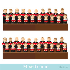Flat style big mixed choir in two raws with black suits and red cover notes on white background