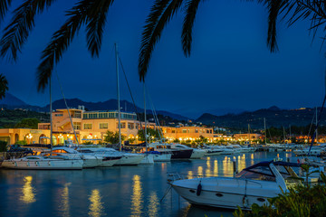 touristic port at night,  Portorosa, Sicily