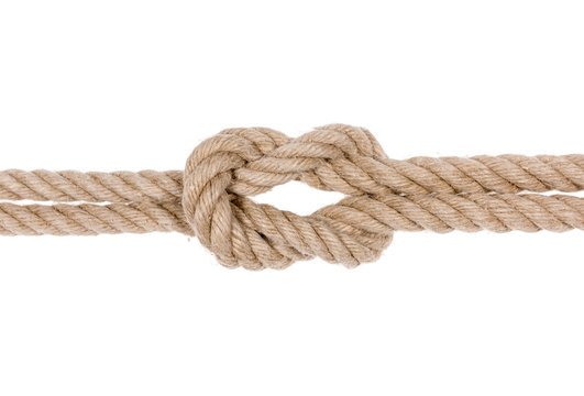 Nautical rope knot. Square knot isolated on white background.
