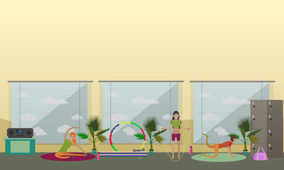 Women are doing exercise and yoga in fitness center. Gym interior vector illustration.