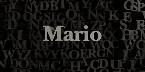 Mario - Stock image of 3D rendered metallic typeset headline illustration.  Can be used for an online banner ad or a print postcard.