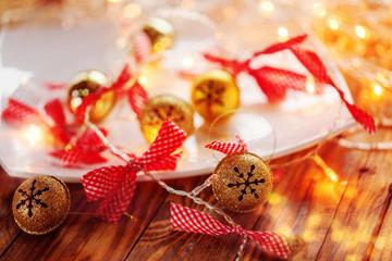 Metal Jingle Bells and Christmas Garland Light