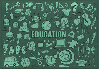 Education Objects background, drawing by hand vector