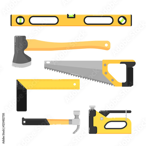 Building Tools Isolated On White Background Vector Illustration. Hammer,  Saw, Axe, Stapler