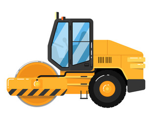 Yellow road roller isolated on white background vector illustration. Road construction machine in flat design. Auto steamroller. Building equipment. Commercial vehicle.