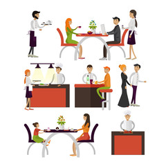 Vector set of cartoon characters isolated on white background. People in restaurant design elements and icons in flat style.