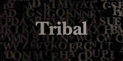 Tribal - Stock image of 3D rendered metallic typeset headline illustration.  Can be used for an online banner ad or a print postcard.
