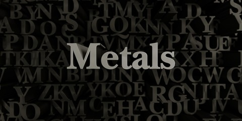 Metals - Stock image of 3D rendered metallic typeset headline illustration.  Can be used for an online banner ad or a print postcard.