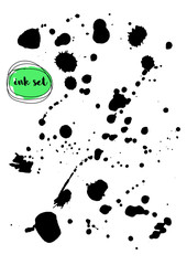 Vector set of black ink. Editable isolated elements.