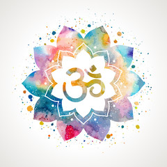 Om sign in lotus flower. Rainbow watercolor texture and splash . Vector isolated. Spiritual Buddhist, Hindu symbol