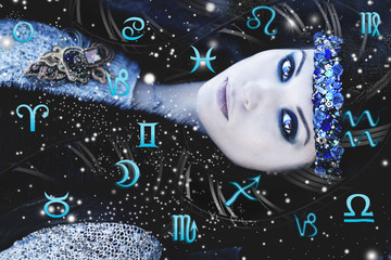 Astrology, twelve zodiac signs, the woman in esoterics