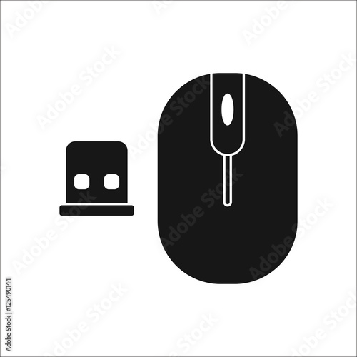 Wireless Mouse with Usb symbol silhouette icon on background\