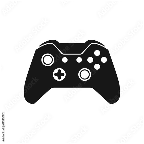 Game Controller or gamepad symbol silhouette icon on background ...