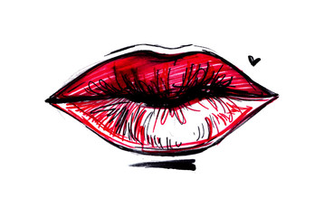 Hand drawn vector illustration - Sweet lips. Female red lips