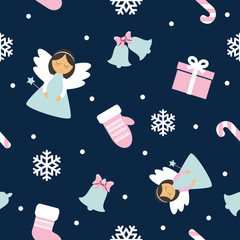 Christmas Seamless Pattern with Angel, Mittens, Bells and Snowflakes. Pink and blue colors.