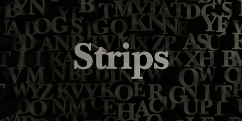 Strips - Stock image of 3D rendered metallic typeset headline illustration.  Can be used for an online banner ad or a print postcard.