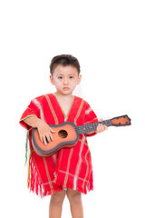 boy karen play ukulele in red karen dress isolate on white background.