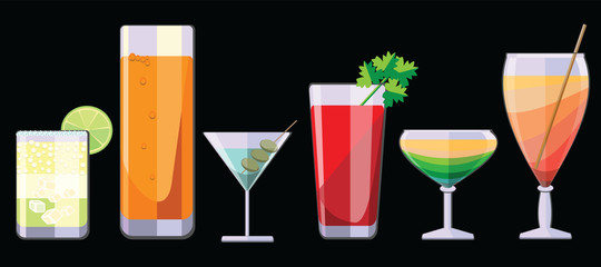 A selection of alcoholic beverages,Horizontal seamless pattern,Cocktail party, on a black background. Vector illustration.