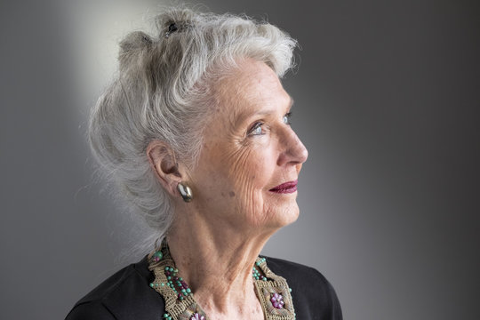 Profile portrait of a mature senior woman