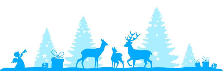 Winterlandschaft mit Hirschen