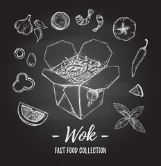 Hand drawn vector illustration - Wok. Wok box, chinese noodles