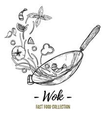 Hand drawn vector illustration - Wok. Wok pan, chinese noodles