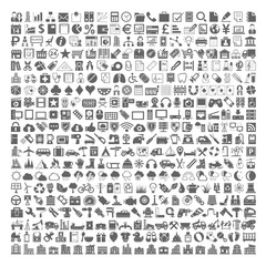 400 Black Icons - Business, Shopping, School, Medical, Gambling, Multimedia, Computer, Network, Home Appliance, Travel, Winter, Weather, Ecology, Car Parts, Tools, Industry, Baby, Buildings