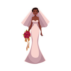 African American bride, fiancee, just married woman, cartoon vector illustration isolated on white background. Black bride in fashionable wedding dress getting married