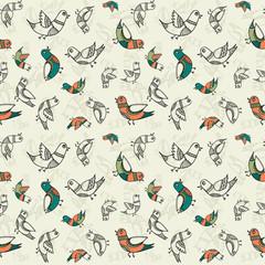 Ethnic style birds - vintage seamless vector pattern